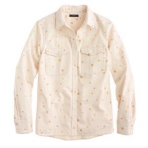 J Crew Ivory Denim Gold Star Shirt XL